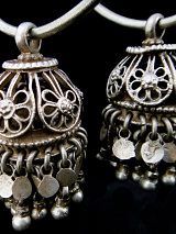 closeup of Antique Afghani Silver Hoops with removable Silver Filigree