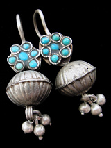Antique Afghani Silver earrings with Turquoise accents, hollow-form centerpiece and dangles