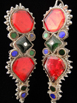 Afghani silver earrings with gem-tone glass