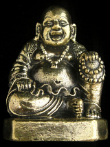 Seated Hotei Buddha brass deity statue