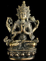 Avalokiteshvara brass deity statue, the bodhisattva of compassion and mercy