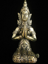 Thai Fairy Temple Guardian brass deity statue, shown kneeling in Anjuli prayer Mudra