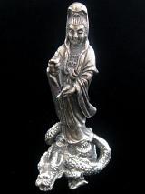 Quan Yin on Dragon brass deity statue, the goddess of compassion
