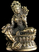 Green Tara brass deity statue, the Mother of all Buddhas