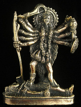 Kali brass deity statue, the goddess of mysteries and destruction