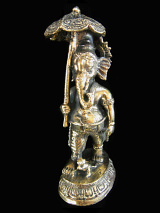 Ganesh brass deity statue, the Remover of Obstacles holding umbrella and water vessel