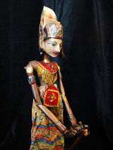 traditional wayang golek puppet Parikesit from the Mahabharata. Handmade in Java, Indonesia