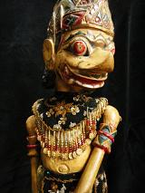 traditional wayang golek puppet Kumbo Karno from the Ramayana. Handmade in Java, Indonesia