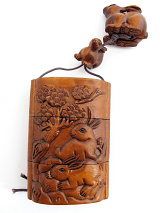 large handcarved boxwood Inro Box with rabbits at play