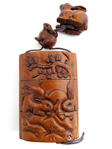large handcarved boxwood Inro Box with rabbits at play, showing reverse side