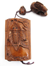 handcarved boxwood Inro box with carved Cicadas