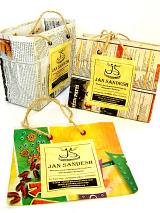 showing an assortment of small Jan Sandesh Newspaper Gift Bags