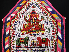Vintage hand-beaded Toran wall decoration from Gujarat, India