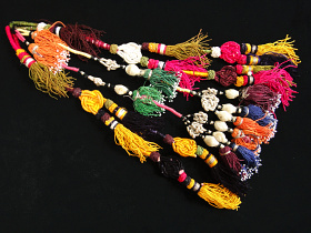 Set of four vintage Turkoman tassels from Central Asia