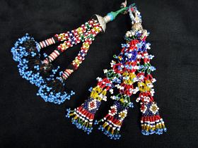 Vintage Turkoman beaded Tassel set from Central Asia