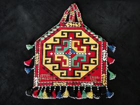 Vintage Turkoman Mirror Bag with traditional Lakai Uzbek cross-stitch embroidery