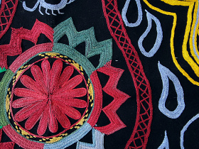 closeup of black textile with embroidered detailing