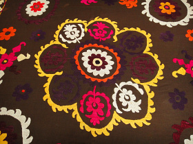 closeup of embroidered vintage Suzanni textile from Central Asia