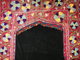 Large vintage embroidered Suzanni Doorway from Central Asia