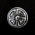 front view of sterling silver repouse shank-button with clover design