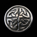 front view of sterling silver repouse shank-button with celtic eternity design