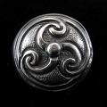 front view of sterling silver repouse shank-button with trefoil design