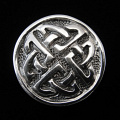 front view of sterling silver repouse shank-button with celtic knot design