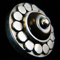 sterling silver repouse shank-button with Shell Flower design