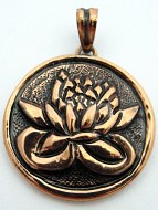Pure copper amulet pendant with lotus blossom