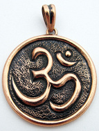Pure copper amulet pendant featuring the Om symbol