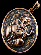 Pure copper round amulet pendant with ganesh