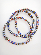 set of three African trade bead stretch bracelets strung with assorted small Venetian Glass Beads from the 1800