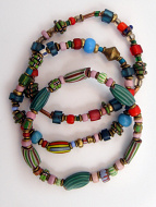 set of three bracelets of assorted small Venetian Glass Beads from the 1800