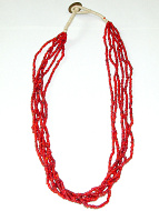 view of full small red white-heart Venetian glass bead necklace from the 1900