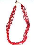 view of full necklace of small red white-heart Venetian glass bead necklace from the 1900