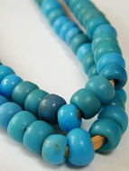 closeup of blue padre african trade beads