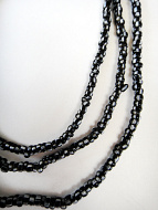 Black and White Striped Small African Trade Bead Strand