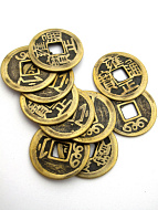 10 pc brass Chinese coin replicas.