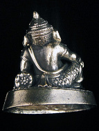 back of reclining Ganesh brass deity statue, the remover of obstacles