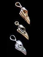 Quality cast solid bronze Medium Raven Skull Pendants