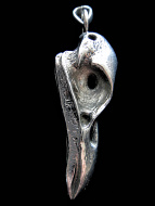 Quality cast silver-tone solid bronze XL Raven Skull Pendant