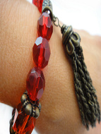 closeup view of Fancy tassle bracelet in