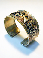 top view of handcrafted silver-brass wide om cuff bracelet