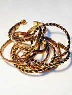 a typical assortment of ten woven copper magnetic cuffs