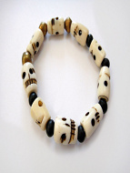 skull stretch bracelet with bone skull, ebony and brass beads