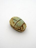 top view of scarab bead, hole runs from head to end