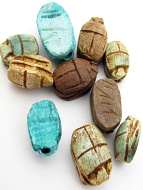 10 piece assortment of tiny and small scarab beads