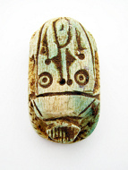 top view of large fancy scarab bead