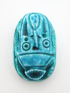 top view of fancy large turquoise scarab bead