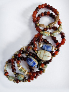 scarab stretch bracelets showing variety in 10pc assortment